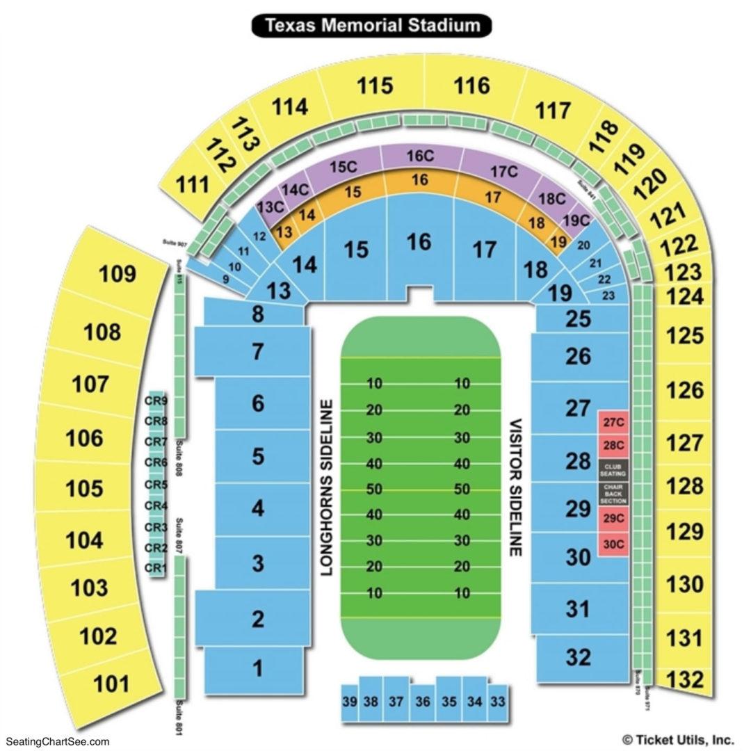 Texas Memorial Stadium Seating Chart Texas Memorial Stadium